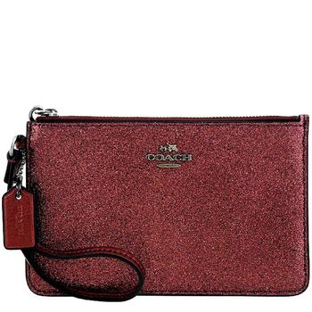 COACH 亮片噴砂造型手拿包-櫻桃紅色
