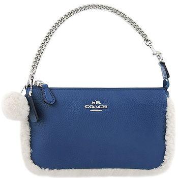 COACH 馬車皮革壓紋滾毛邊鍊帶手提包-土耳其藍色