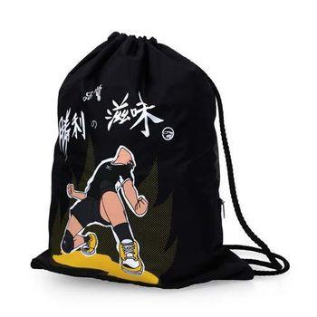 【MIZUNO】多功能簡易背袋-束口包  後背包 雙肩包 鞋袋 美津濃 黑黃