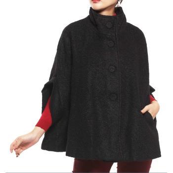 蘭陵精品名牌風厚暖類羊毛斗篷外套(黑/紅)