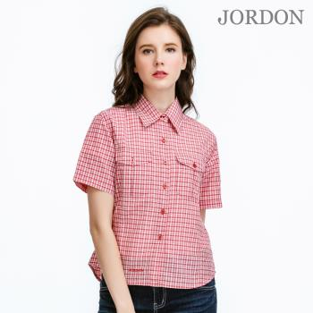 【JORDON】女短袖吸濕排汗格子襯衫/防污易洗抗皺(WL001)