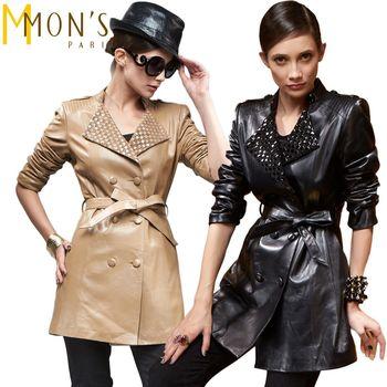 MONS時尚精品編織格紋領小羊皮風衣 ( 可可 / 黑 ) 2色選 M~XL