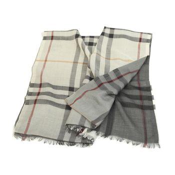BURBERRY 經典格紋雙色漸層絲羊毛長披巾(灰色/鐵灰色)