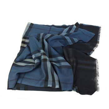 BURBERRY 經典格紋雙色漸層絲羊毛長披巾(藍色/深藍色)