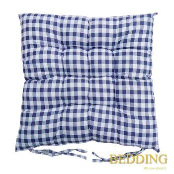 【BEDDING】綁帶式格子餐桌椅墊-琉璃藍