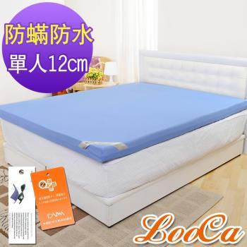 《贈枕》LooCa 抗菌防蹣防水12cm釋壓記憶床墊-單人