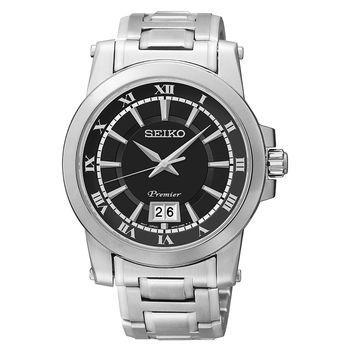 SEIKO Premier 羅馬主義大視窗時尚腕錶-黑/40mm 6N76-00B0D(SUR015J1)