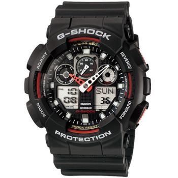CASIO G-SHOCK 粗獷個性風運動錶 GA-100-1A4 黑x紅