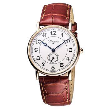 LONGINES Heritage18K玫塊金旗鑑機械腕錶-38.5mm L47858732