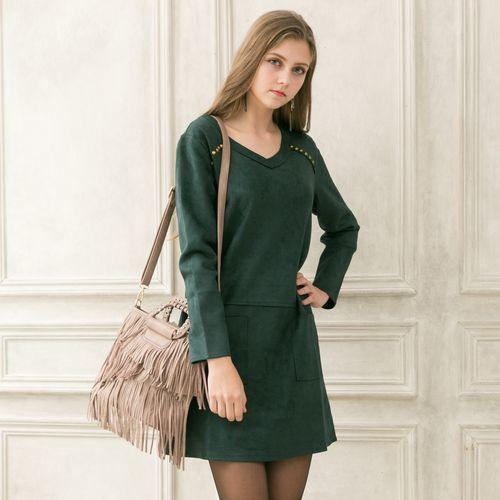 MARKABADU國際精品風加大麂皮絨洋裝