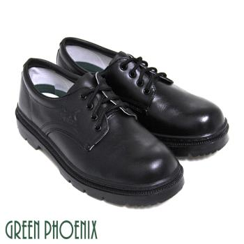 【GREEN PHOENIX】素面綁帶牛皮全真皮學生皮鞋(男鞋)-黑色