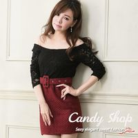 Candy小舖 新品特色款 平口蕾絲拼接毛尼洋裝0094531 ^#45 共3色
