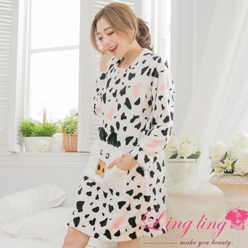 lingling日系 全尺碼-暖手口袋愛心乳牛水貂絨長袖連身裙睡衣(可愛白)A3121