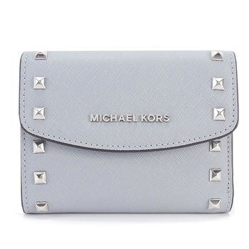 MICHAEL KORS Ava Stud 鉚釘邊飾防刮牛皮三折短夾(灰藍)