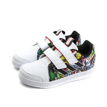 adidas 板鞋 童鞋 兩個魔鬼氈 白色 中童 no350
