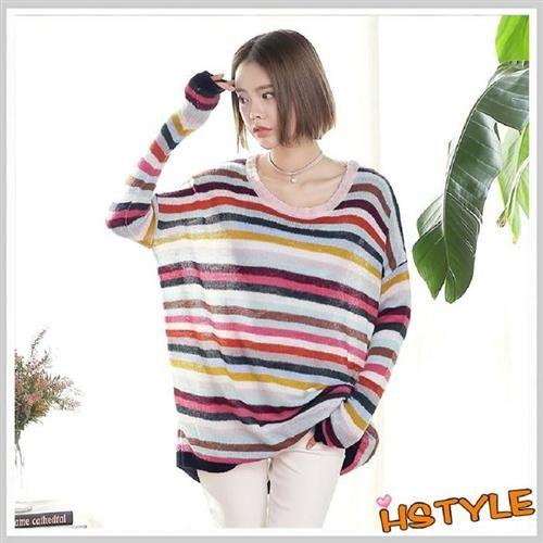 針織上衣 彩虹條紋寬鬆長袖針織衫MQ7023-創翊韓都