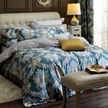《HOYACASA南法貴族》 加大六件式300織精梳長絨棉兩用被床包組 -贈90/10羽絨被