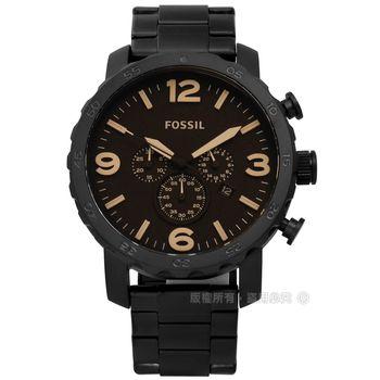 FOSSIL / JR1356 / 獨立剛強大徑三環不鏽鋼手錶 深棕x鍍黑 50mm
