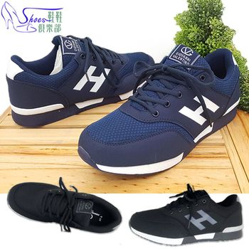 【Shoes Club】【108-GV6127】慢跑鞋.H字母 綁帶透氣網布韌性強耐彎曲運動跑步休閒男鞋.2色 黑/藍