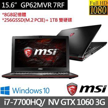 MSI 微星 GP62MVR 7RF-437TW 15.6吋FHD i7-7700HQ四核心 NV GTX1060 3G獨顯 256G M.2 PCIE SSD+1T雙碟 專業強化電競筆電