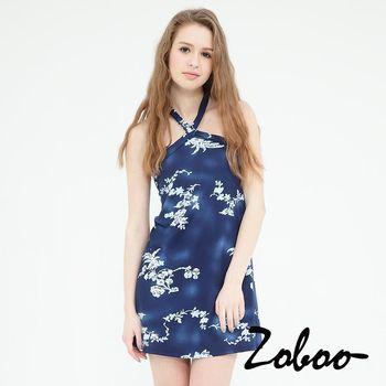 【Zoboo】削背繞頸堤花貼身連身裙修身洋裝小禮服,晚宴服,心機洋裝(Q5018)