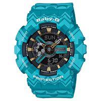 CASIO 卡西歐 Baby ^#45 G 波西米亞雙顯錶 ^#45 湖水藍 BA ^#4