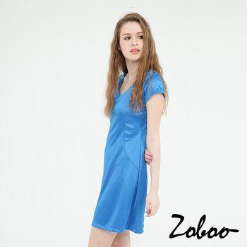 【Zoboo】OL,上班族必備小資族V領無袖素面修身洋裝,小禮服,晚宴服,心機洋裝(Q5045) 寶藍色