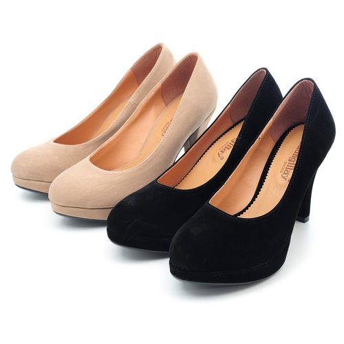 【 cher美鞋】MIT細緻絨布前增高經典款高跟鞋♥黑色/淺棕♥NPML-D
