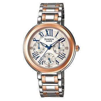 【CASIO】SHEEN 時尚羅馬晶鑽不鏽鋼腕錶 SHE-3034SG-7A