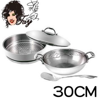《菲姐鍋具》頂級不鏽鋼30CM雙耳炒鍋贈蒸籠