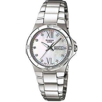 【CASIO】SHEEN 溫柔耀眼粉嫩晶鑽腕錶 SHE-4022D-7A