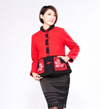 蘭陵中國風手繪短版刷毛外套