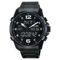 ALBA 雅柏 W兩個世界雙顯腕錶 ^#45 黑 ^#47 45mm N021 ^#45
