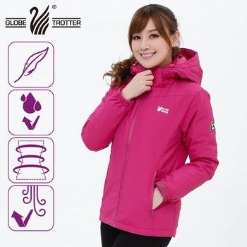 【遊遍天下】Globetex防水系列女款JIS90%羽絨禦寒中長版外套(玫紅)