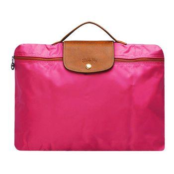 LONGCHAMP 方型手提式電腦包(紫紅色)