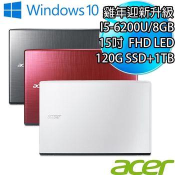 Acer 宏碁 E5-575G-1TB系列15.6吋 i5-6200U 1TB 獨顯940MX 2GB 強悍戰鬥筆電直升8G再升120G SSD