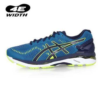 【ASICS】GEL-KAYANO 23 男慢跑鞋-4E-路跑 寬楦 亞瑟士 深藍螢光綠
