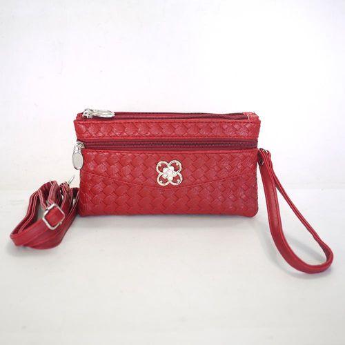 【Miyo】摩登時尚編織紋多層格功能包(紅)