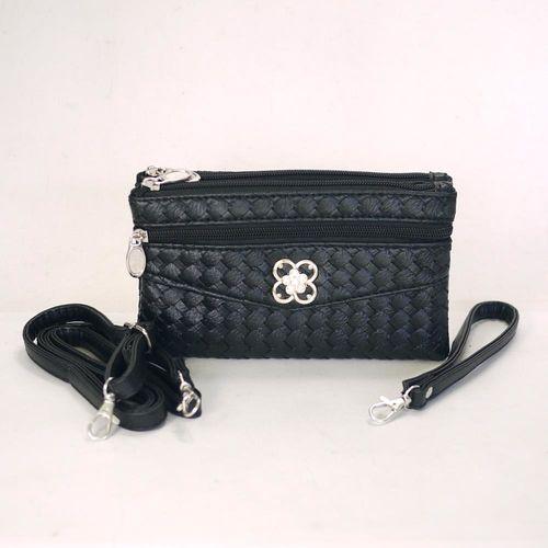 【Miyo】摩登時尚編織紋多層格功能包(黑)