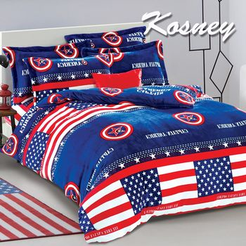 【KOSNEY】北美假日  頂級法蘭絨特大四件式兩用被套床包組