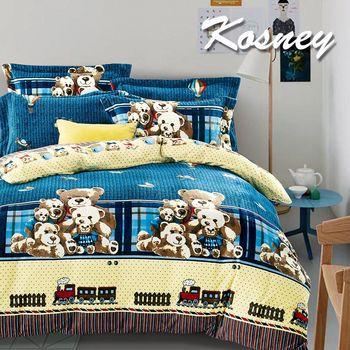 【KOSNEY】小熊故事  頂級法蘭絨加大四件式兩用被套床包組