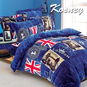 【KOSNEY】英國國旗  頂級法蘭絨加大四件式兩用被套床包組