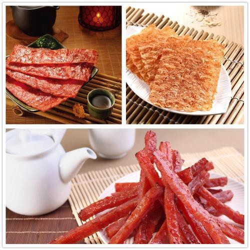《軒記-台灣肉乾王》蜜汁豬肉乾+吮指豬肉條+黑胡椒杏仁脆肉乾