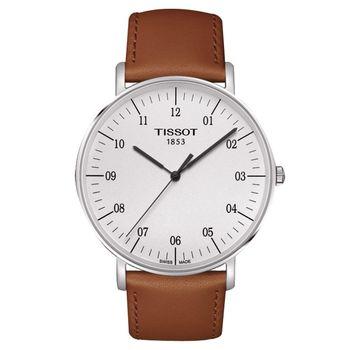 TISSOT 天梭 Everytime 經典雋永腕錶-銀x咖啡色錶帶/42mm T1096101603700