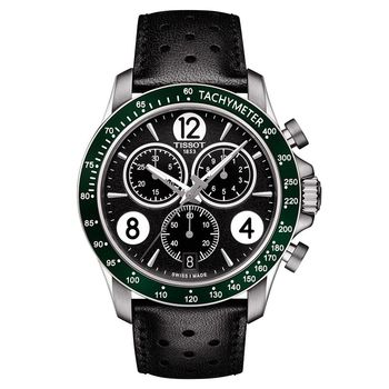 TISSOT 天梭 V8系列三眼計時腕錶-黑x綠框/42.5mm T1064171605700