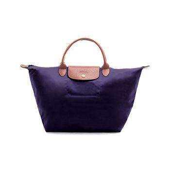 【LONGCHAMP】LE PLIAGE基本摺疊款/短把水餃包(中)深紫色-現貨