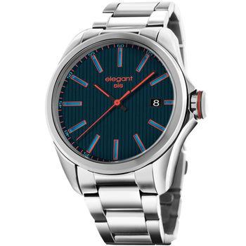 elegantsis 直紋日期腕錶 簡約 深藍色 橘色 45mm / ELJT42-2U02MA