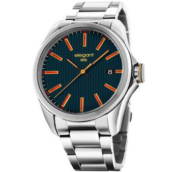 elegantsis 直紋日期腕錶 簡約 深藍色 紅色 黃色 45mm / ELJT42-2U03MA
