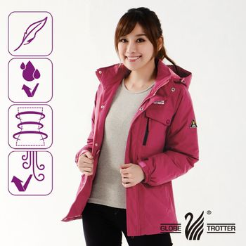 【遊遍天下】Globetex防水系列女款JIS90%羽絨禦寒中長版外套(紫紅)