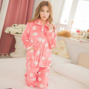 lingling日系 全尺碼-兔兔點點開釦水貂絨長袖二件式睡衣組(甜橘色)A3169-01